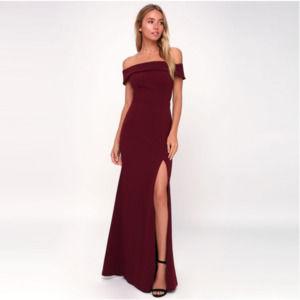Lulu's Aveline Burgundy Maxi Dress